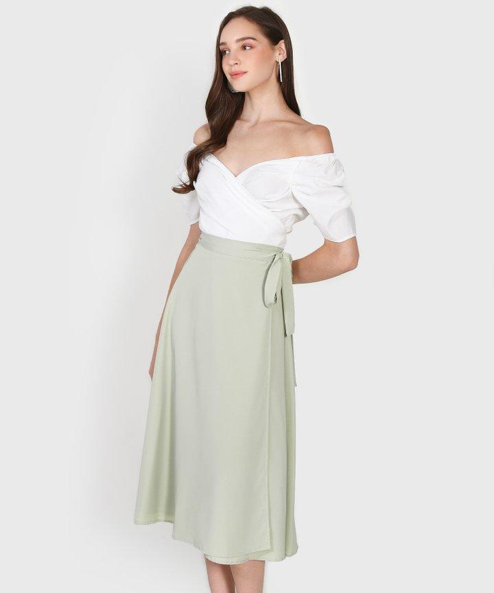 Arbery Midi Skirt - Pale Sage Size S (Backorder)