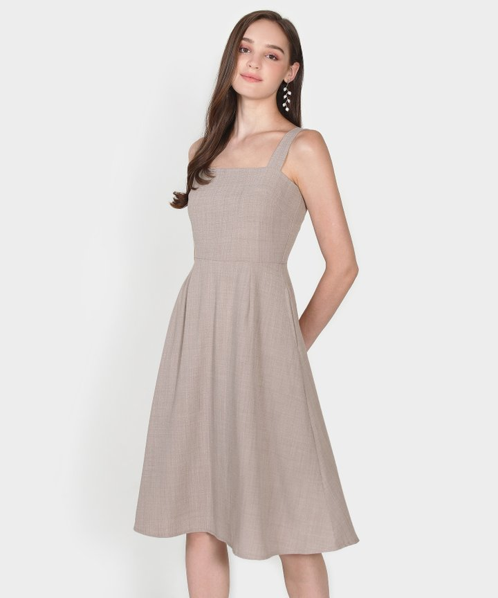 Axel Square Midi Dress - Taupe Grey