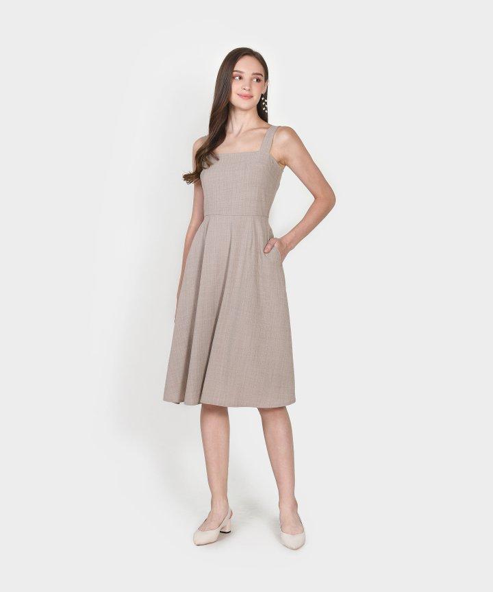 Axel Square Midi Dress - Taupe Grey