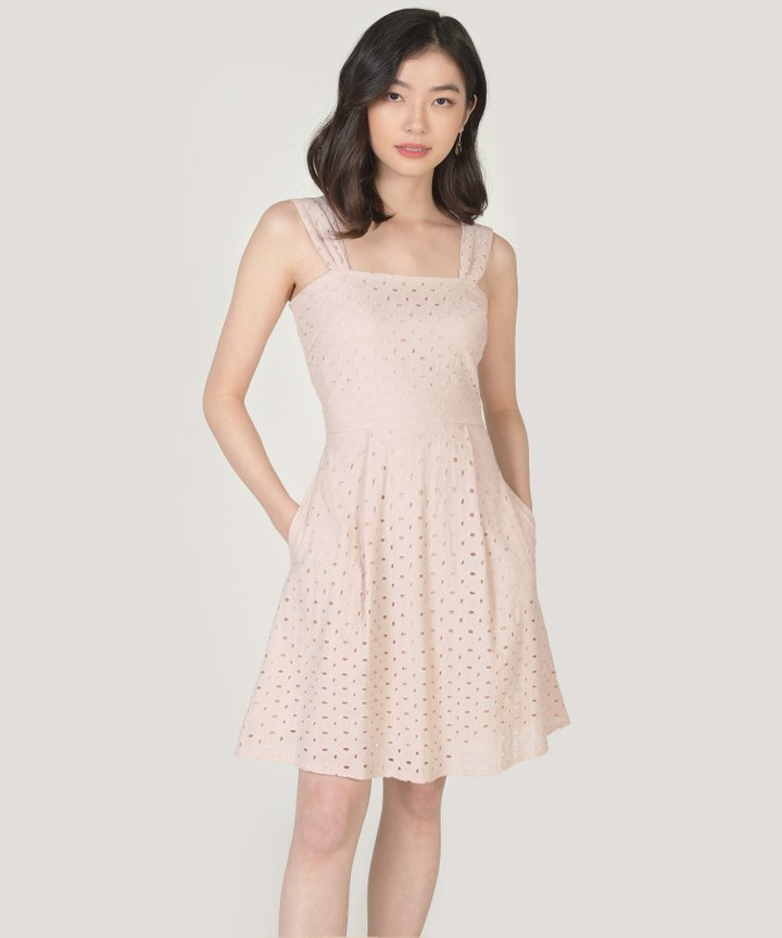 Edith Eyelet Dress - Nude Pink
