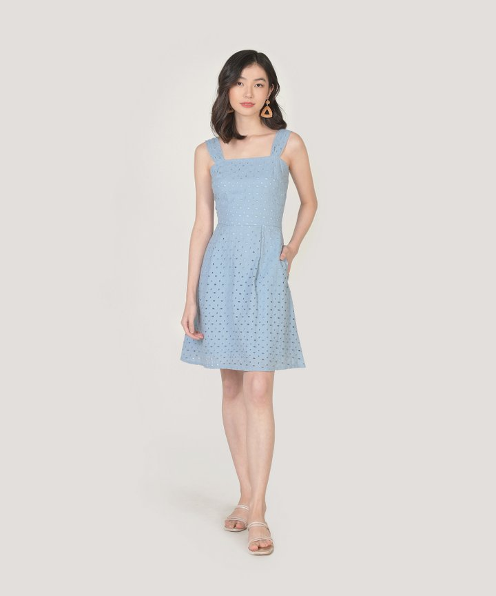 Edith Eyelet Dress - Sky Blue