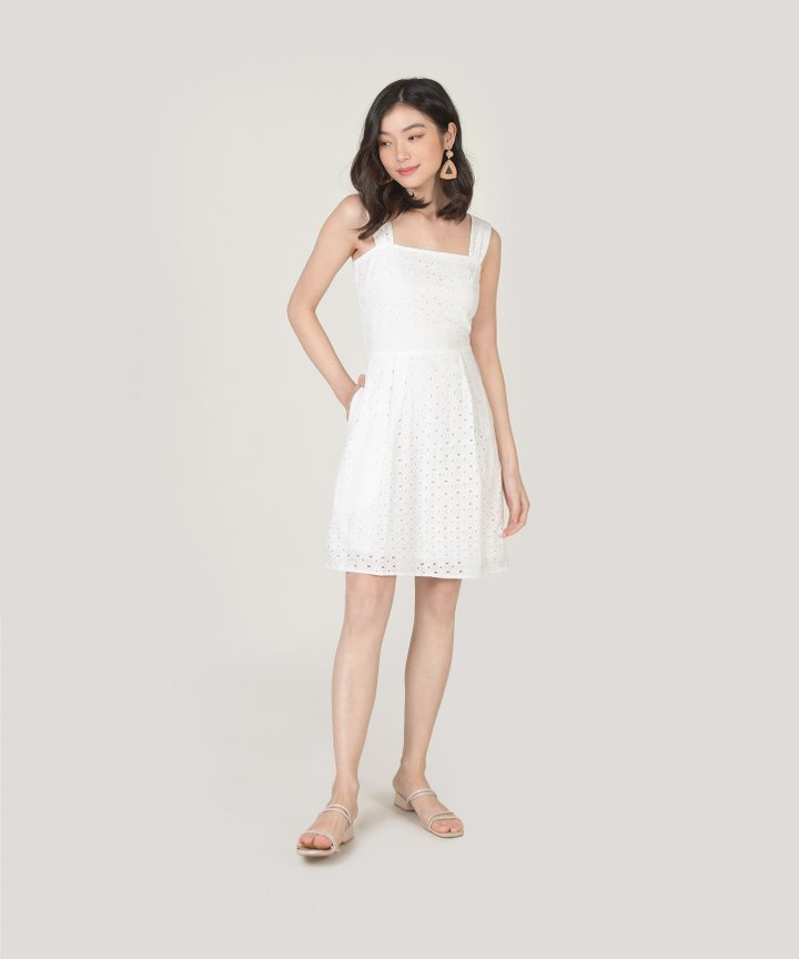 Edith Eyelet Dress - White