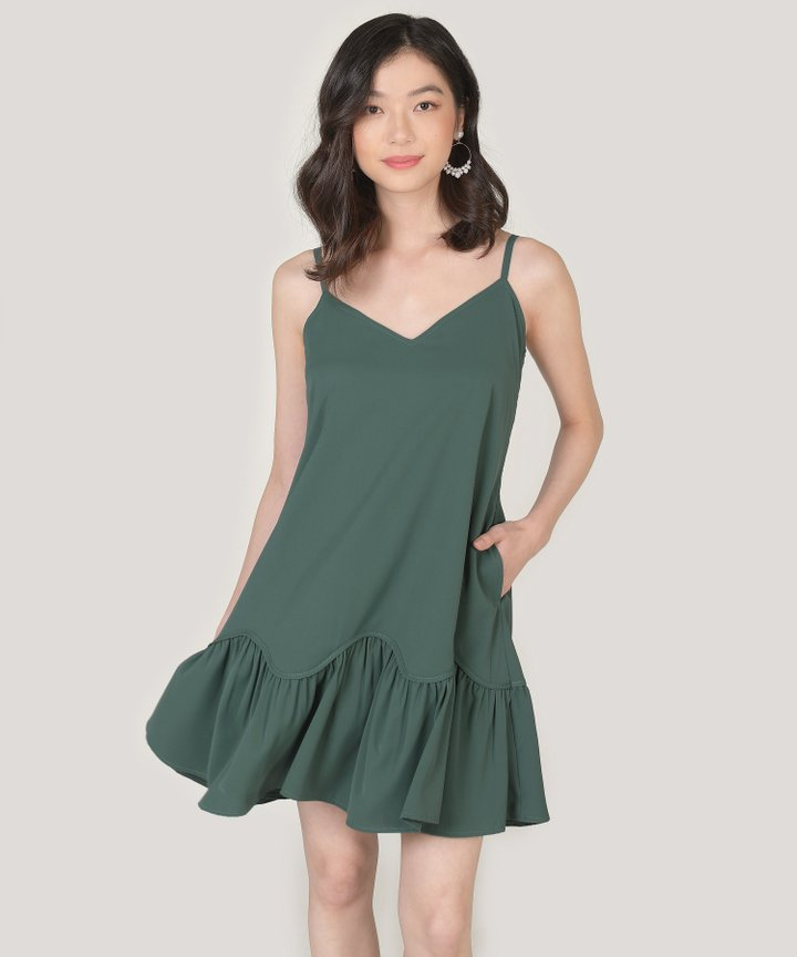 Elyse Drop Hem Dress - Forest Green