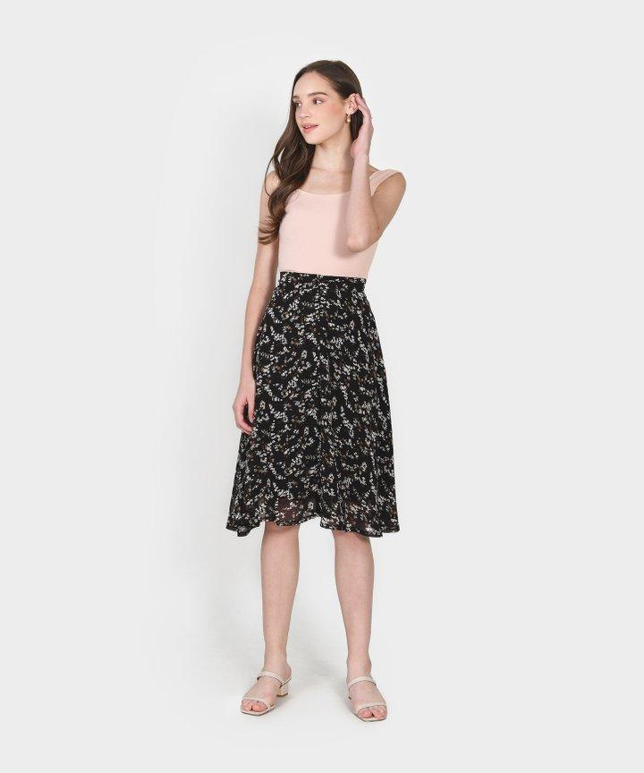 Etienne Floral Midi Skirt - Black