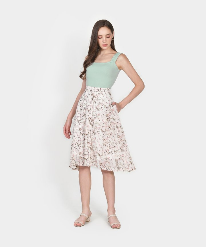 Etienne Floral Midi Skirt - Off-White