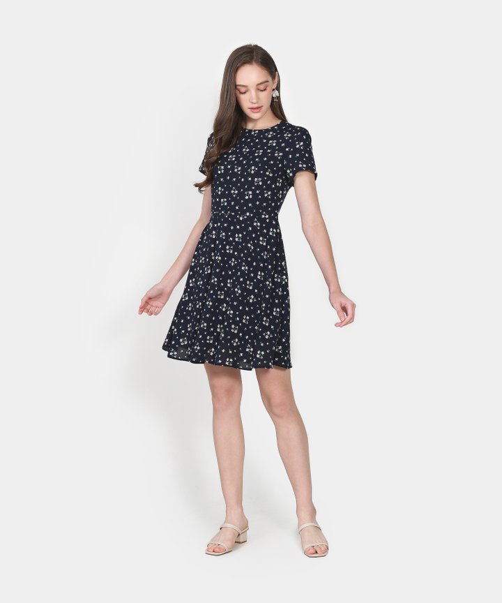Haiden Floral Dress - Midnight Blue