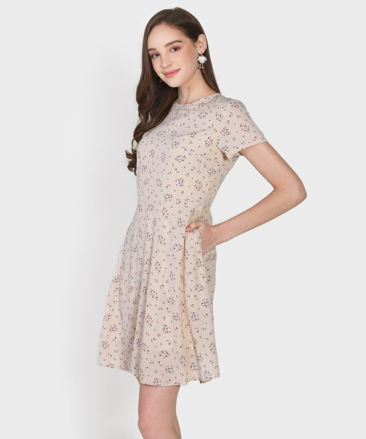 Haiden Floral Dress - Pale Sand