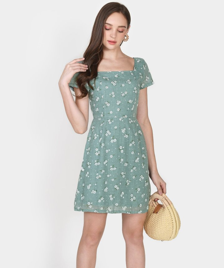 Iden Floral Dress - Dust Turquoise