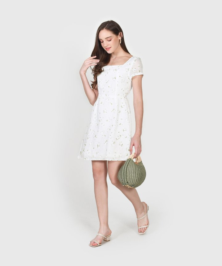 Iden Floral Dress - White