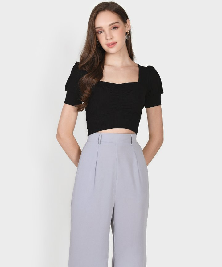 La Mesa Knit Cropped Top - Black (Restock)
