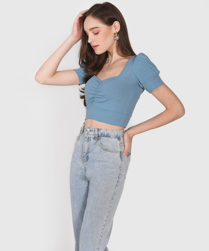 La Mesa Knit Cropped Top - Cornflower Blue (Backorder)