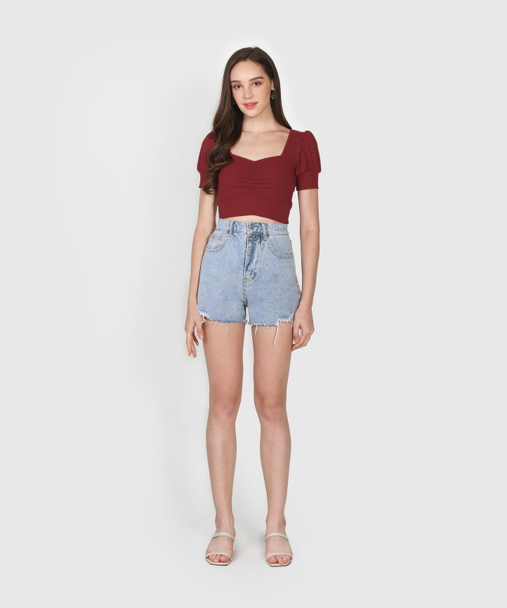 La Mesa Knit Cropped Top - Wine (Backorder)