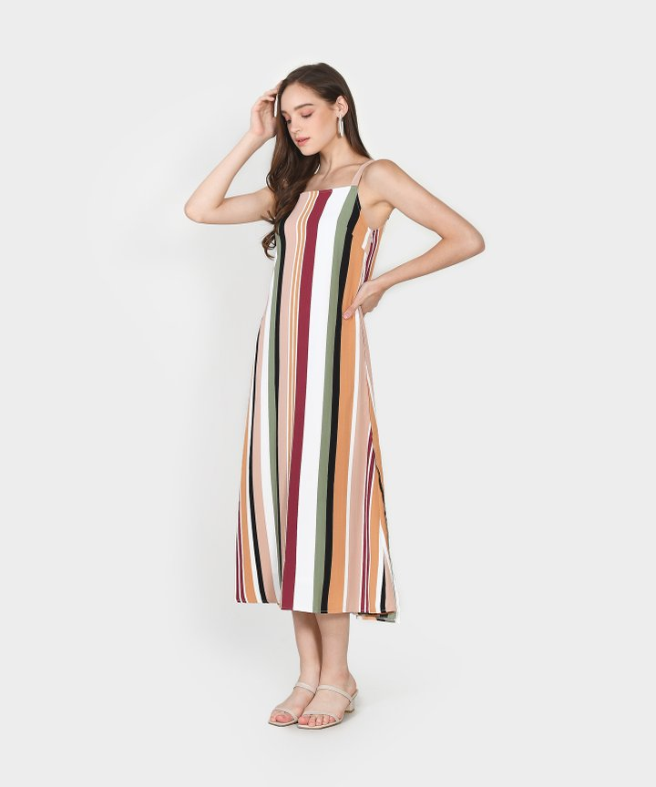 Nicolette Striped Maxi Dress - Blush Pink