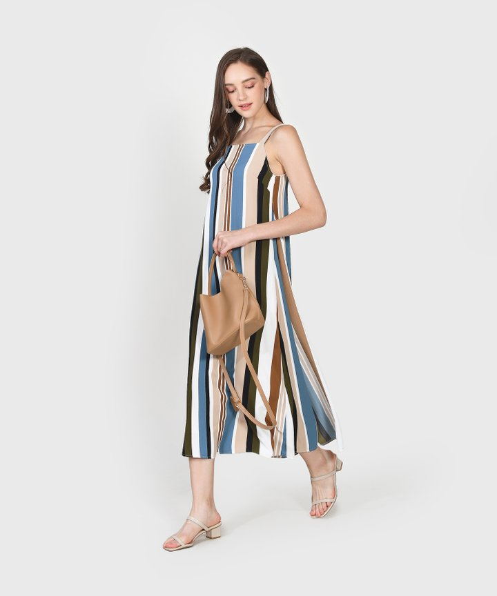 Nicolette Striped Maxi Dress- Lucerne Blue