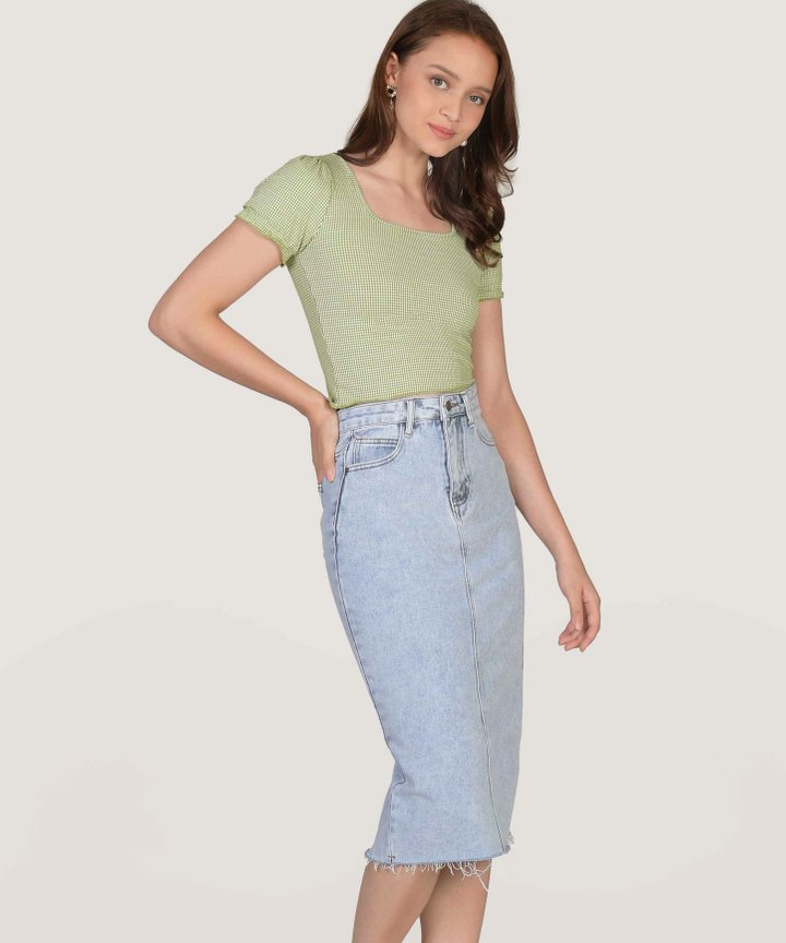 Anglia Gingham Cropped Top - Green (Backorder)