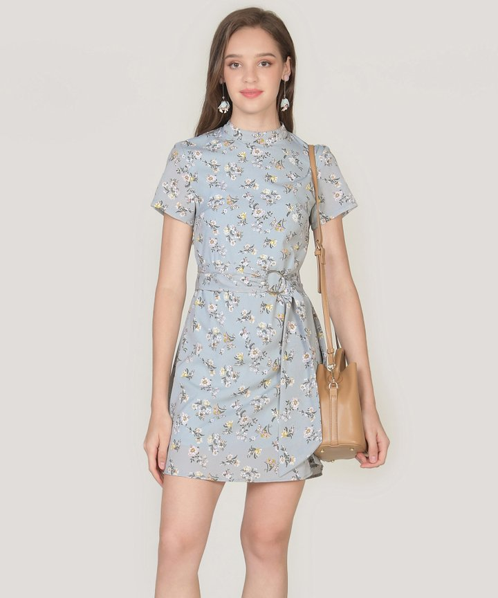 Annalie Floral Playsuit - Mist Blue