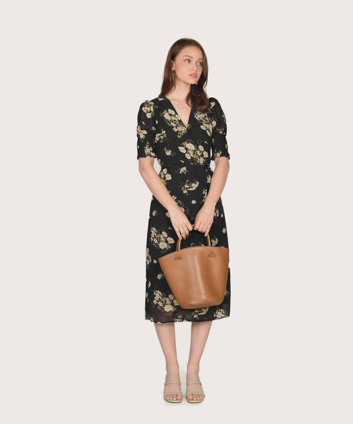 Astoria Floral Wrap Midi Dress