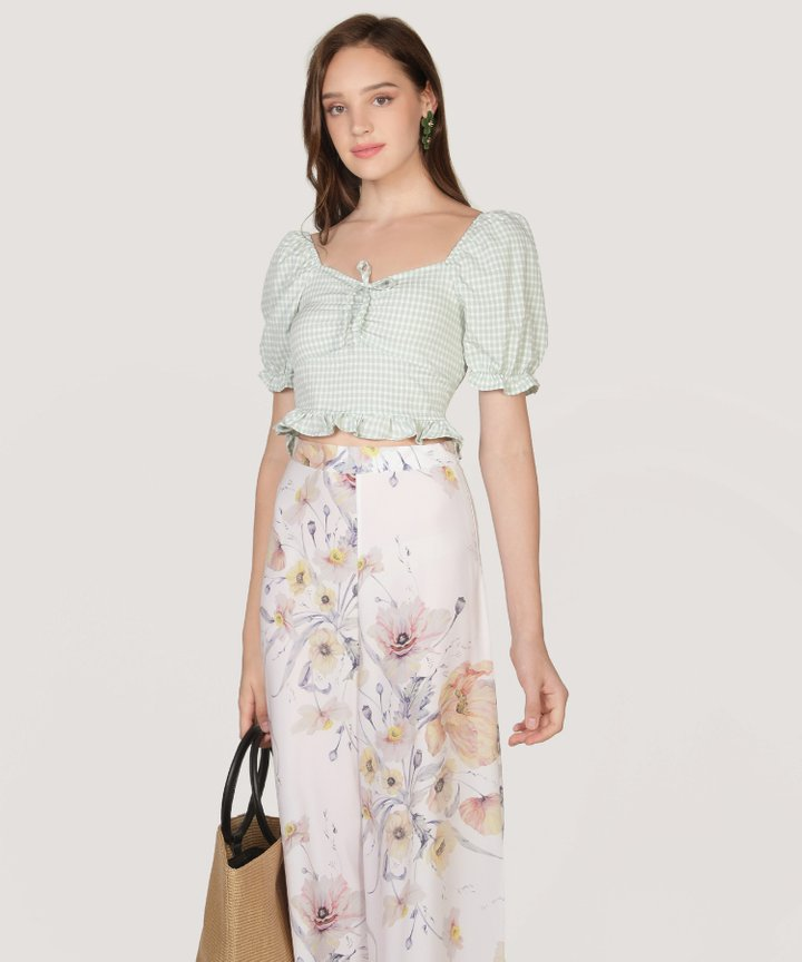 Biscayne Gingham Cropped Top - Pale Mint (Restock)