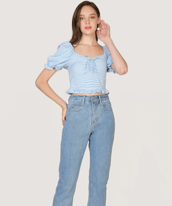 Biscayne Gingham Cropped Top - Sky Blue