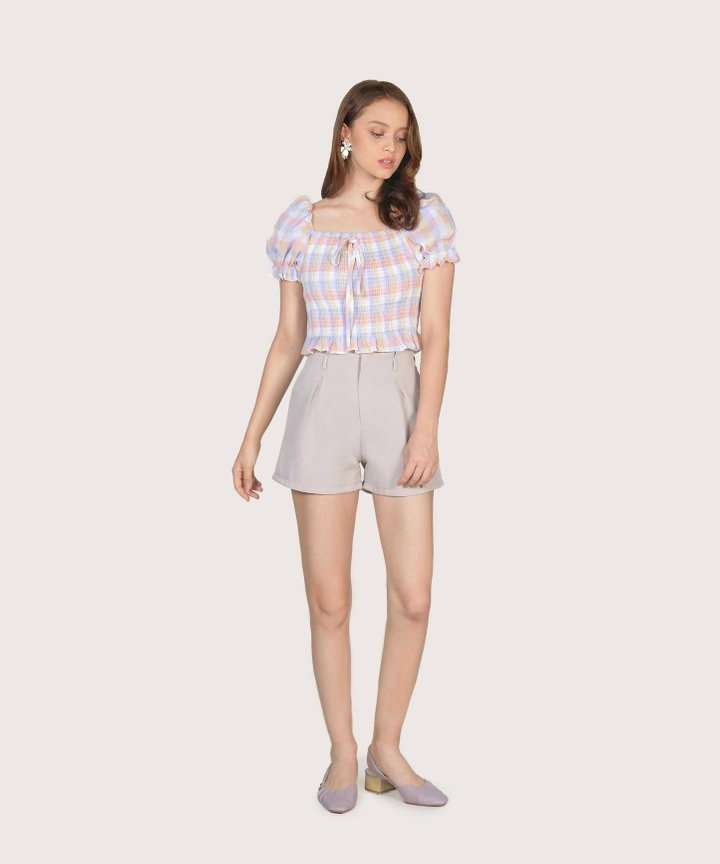 Collina Checkered Smocked Top