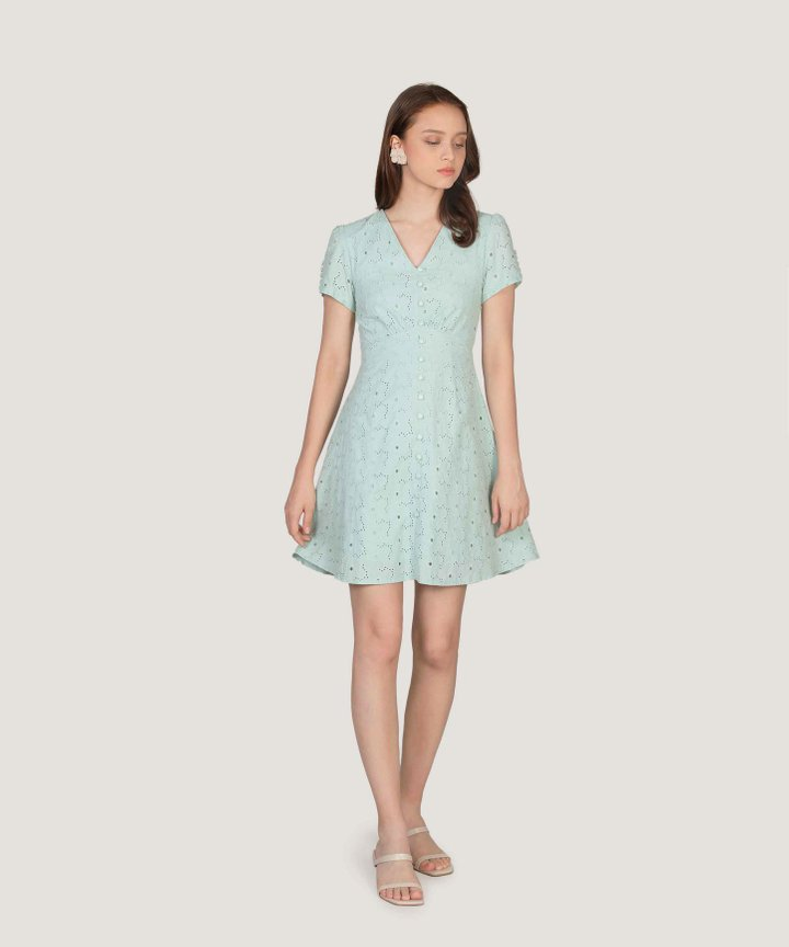 Coralline Eyelet Dress - Mint