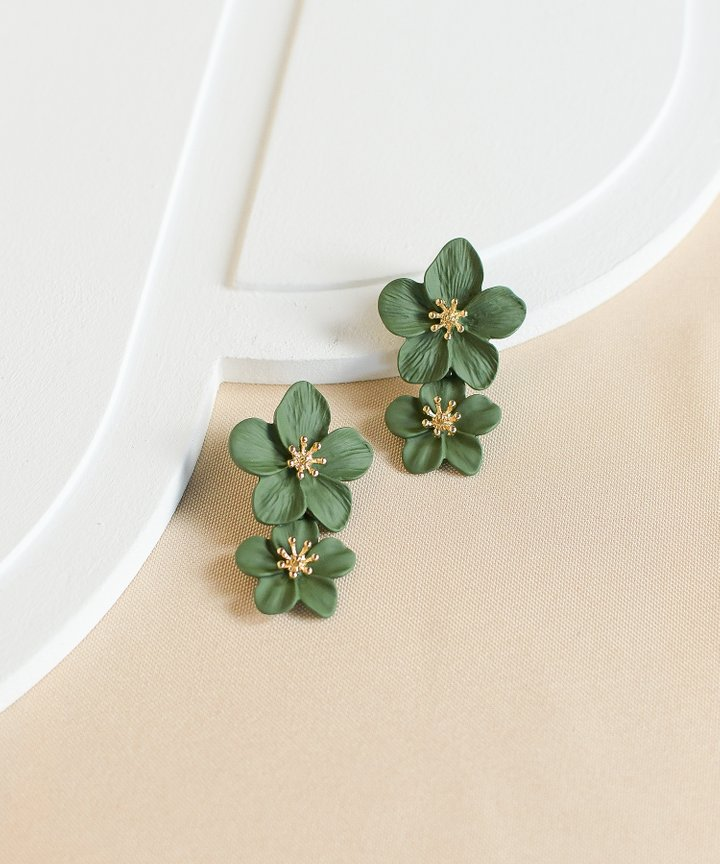 Hialeah Floral Tiered Earrings - Forest Green (Backorder)