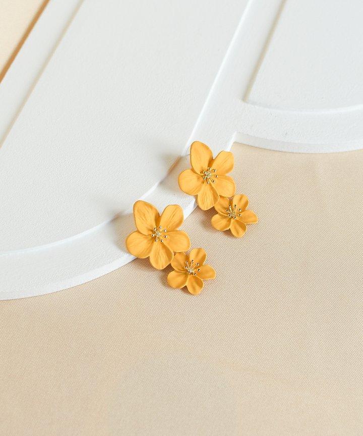 Hialeah Floral Tiered Earrings - Marigold