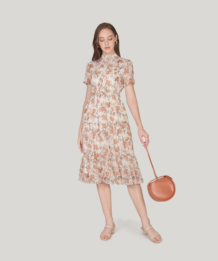 Isola Floral Midi Dress - Autumn