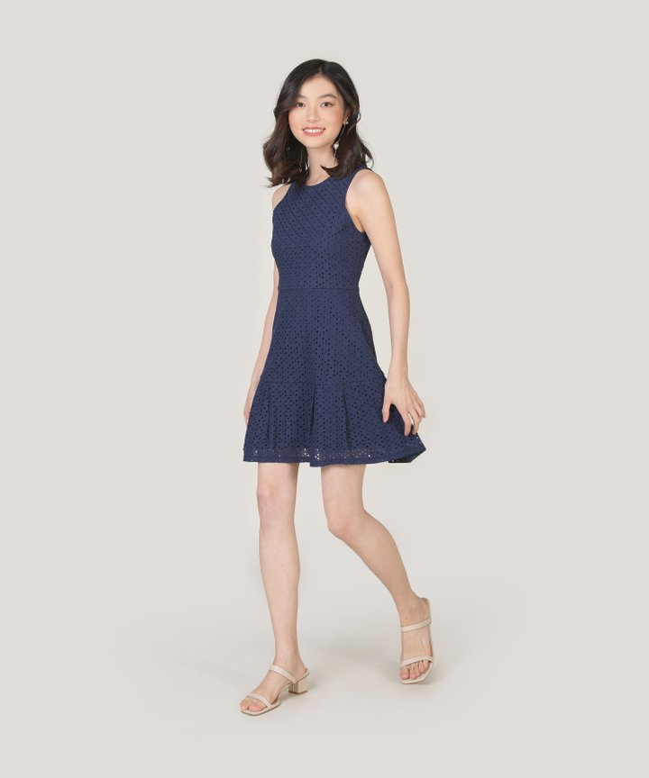 Lilah Eyelet Dress - Indigo Blue