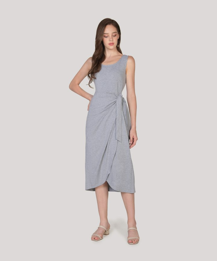 Lois Overlay Midi Dress - Heather Grey