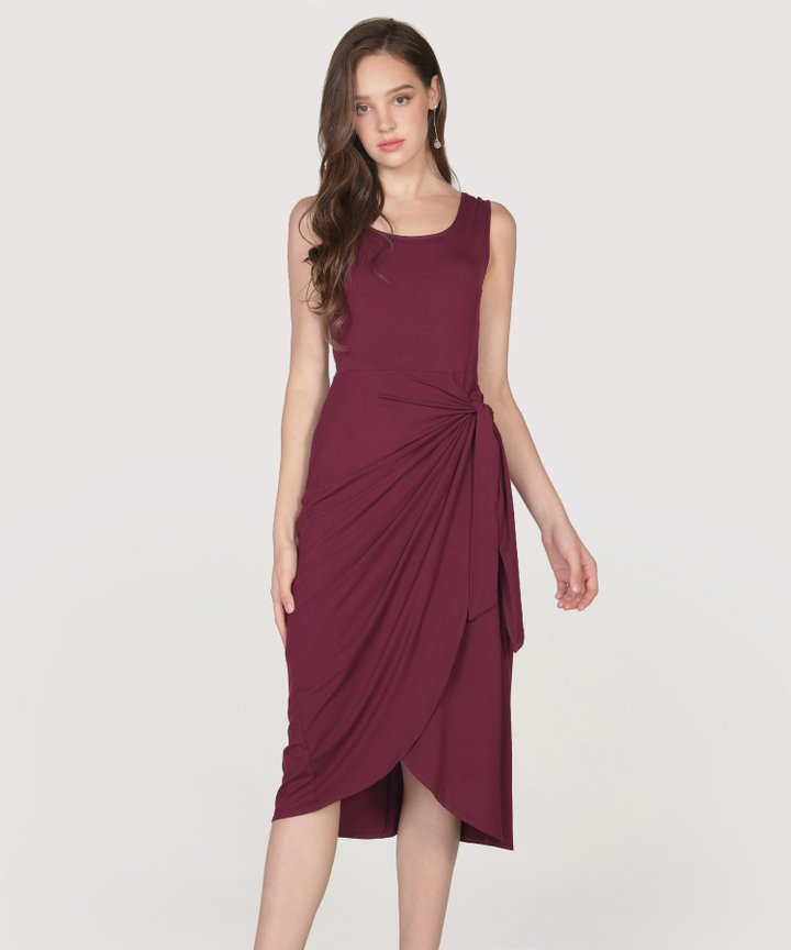 Lois Overlay Midi Dress - Maroon