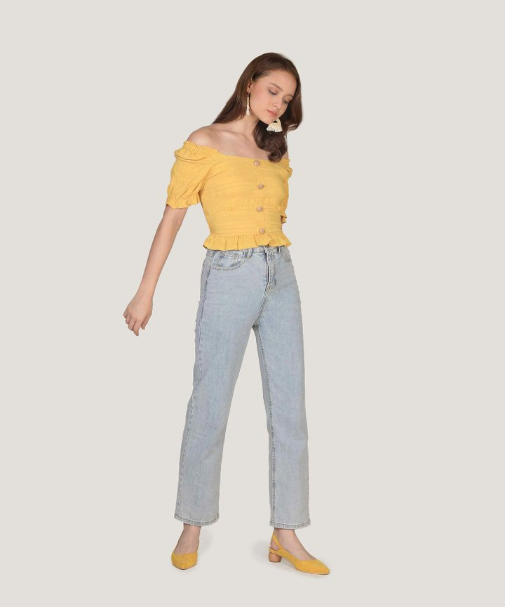 Maurie Textured Top - Marigold