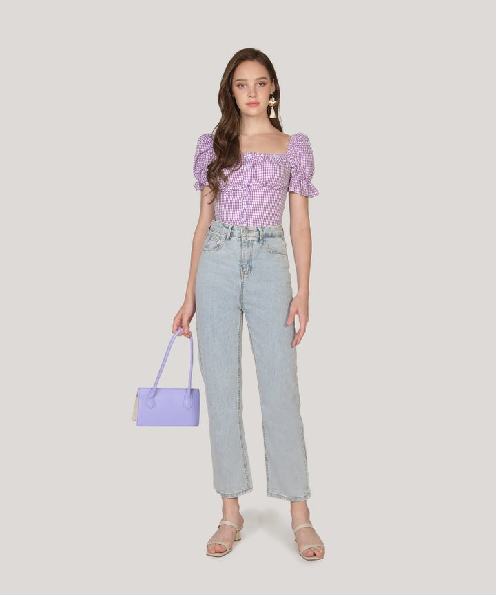 Nita Gingham Cropped Top - Iris