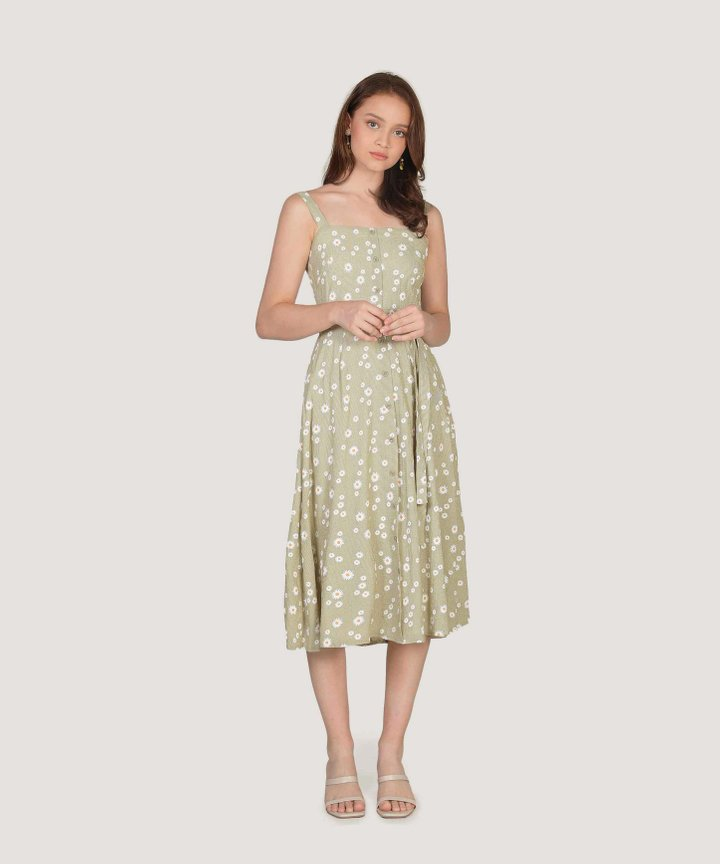 Smitten Floral Gingham Midi Dress - Meadow Green