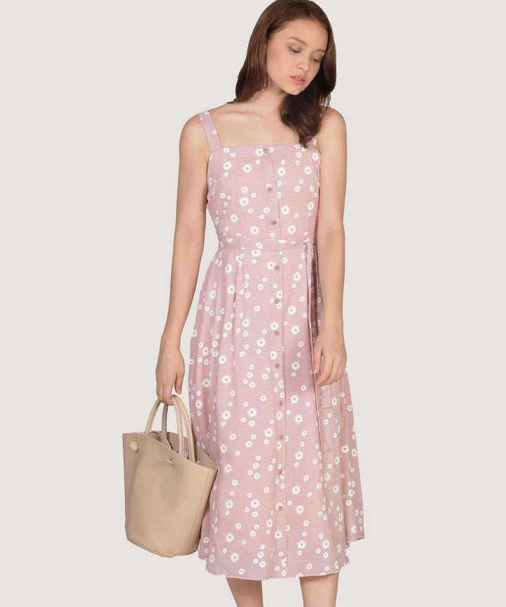 Smitten Floral Gingham Midi Dress - Pale Pink