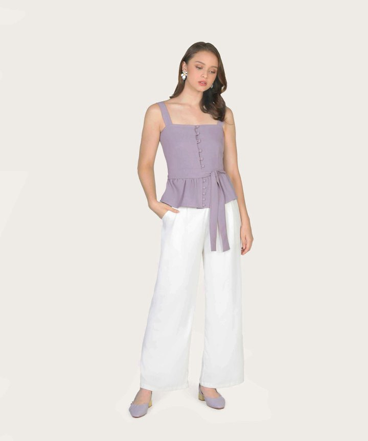 Thea Button Down Peplum Top - Wisteria