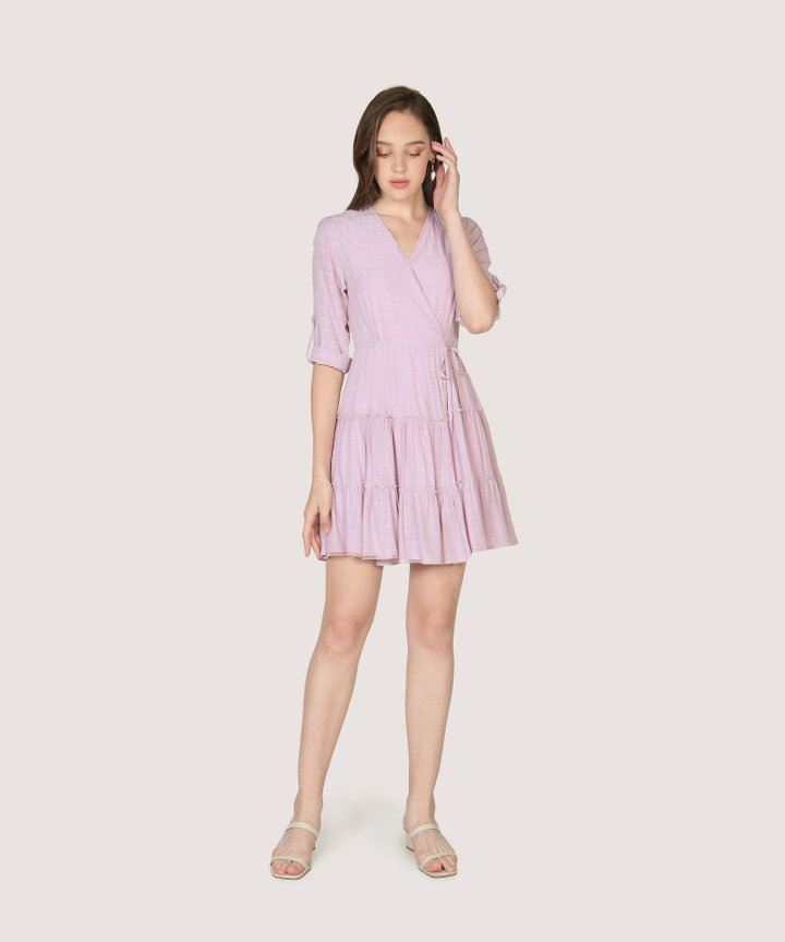 Yvette Gathered Dress - Pale Lilac