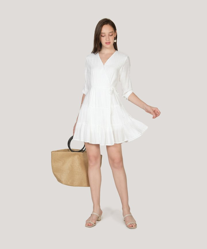 Yvette Gathered Dress - White