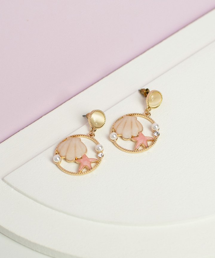 Aerie Seashell Earrings - Blush