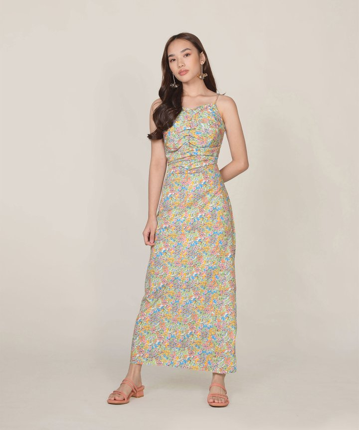Apolune Floral Ruched Maxi Dress