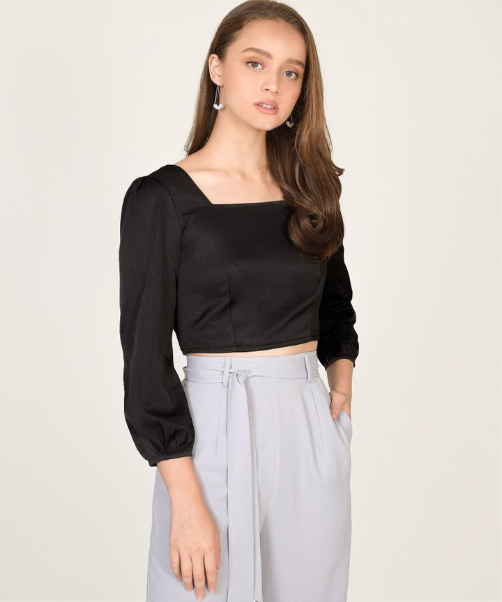 Astoria Cropped Blouse - Black