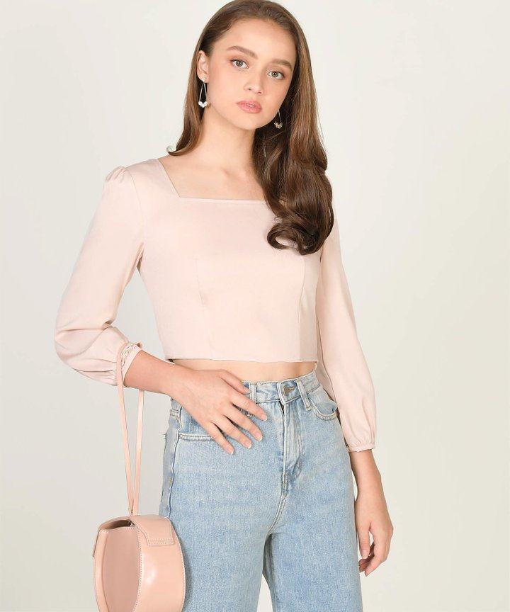 Astoria Cropped Blouse - Nude Pink