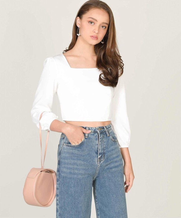Astoria Cropped Blouse - White