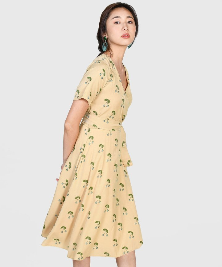 Cherry Wrap Midi Dress - Mustard