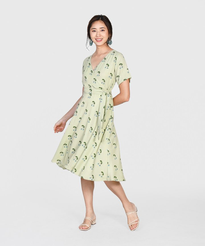 Cherry Wrap Midi Dress - Pale Green