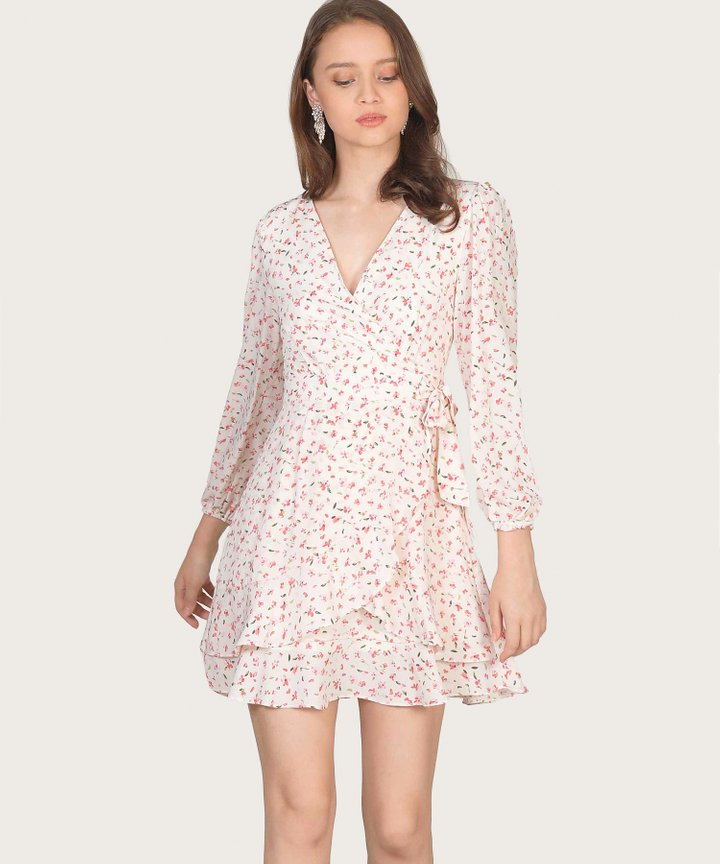 Claudina Floral Overlay Dress - Off White