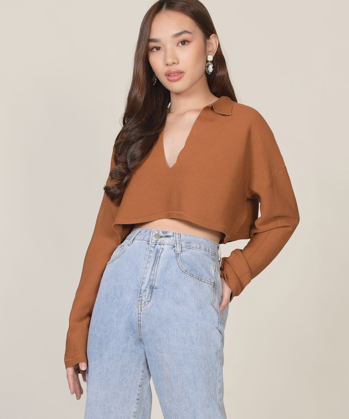 Elan Knit Cropped Sweater - Ginger Brown (Backorder)
