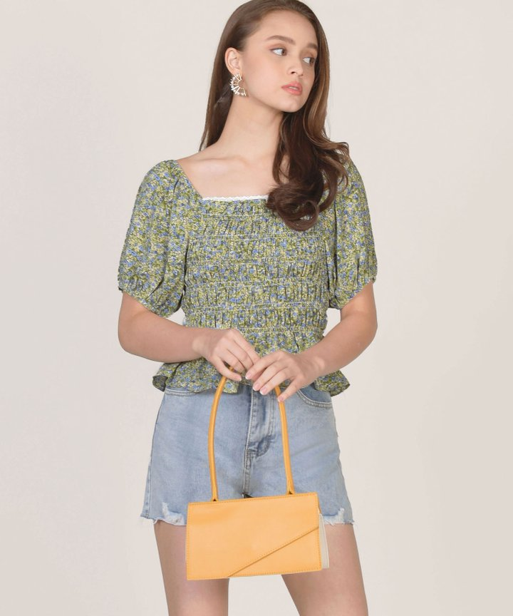 Faye Floral Smocked Top - Green