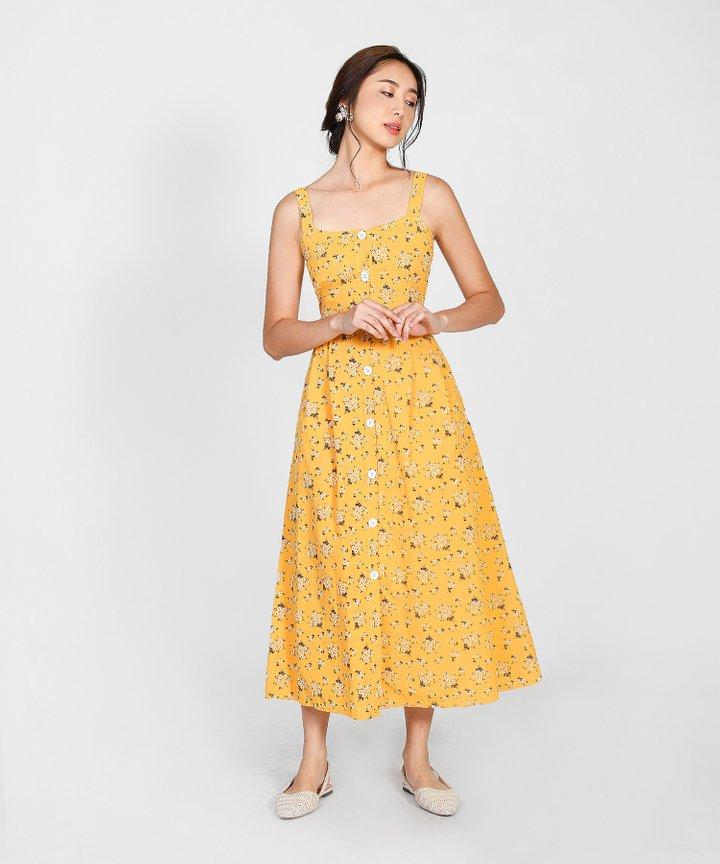 Hanneli Floral Button Down Midi Dress - Marigold