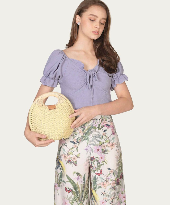 Marmalade Ruffle Cropped Top - Lavender (Backorder)